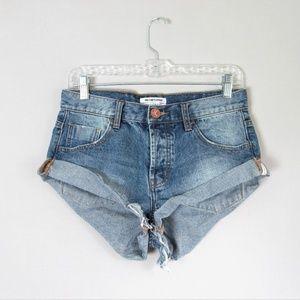 One Teaspoon bandits twisted cuff denim shorts